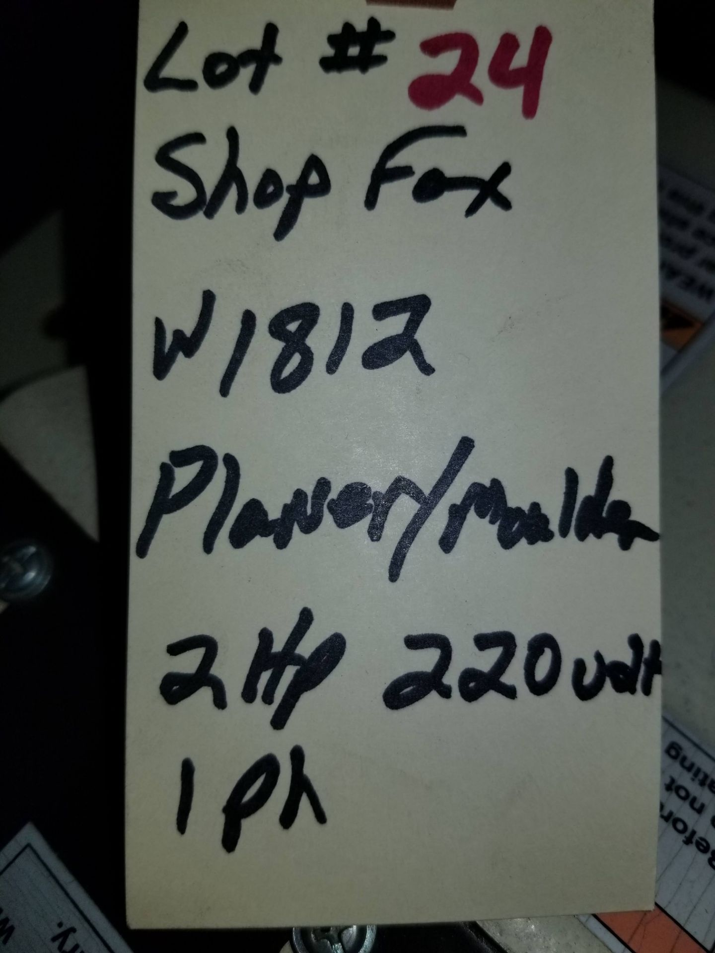 "Lot 24 - Shop Fox - 2 HP 7"" Planer / Moulder with Stand W1812, 2hp 220V 1ph,"