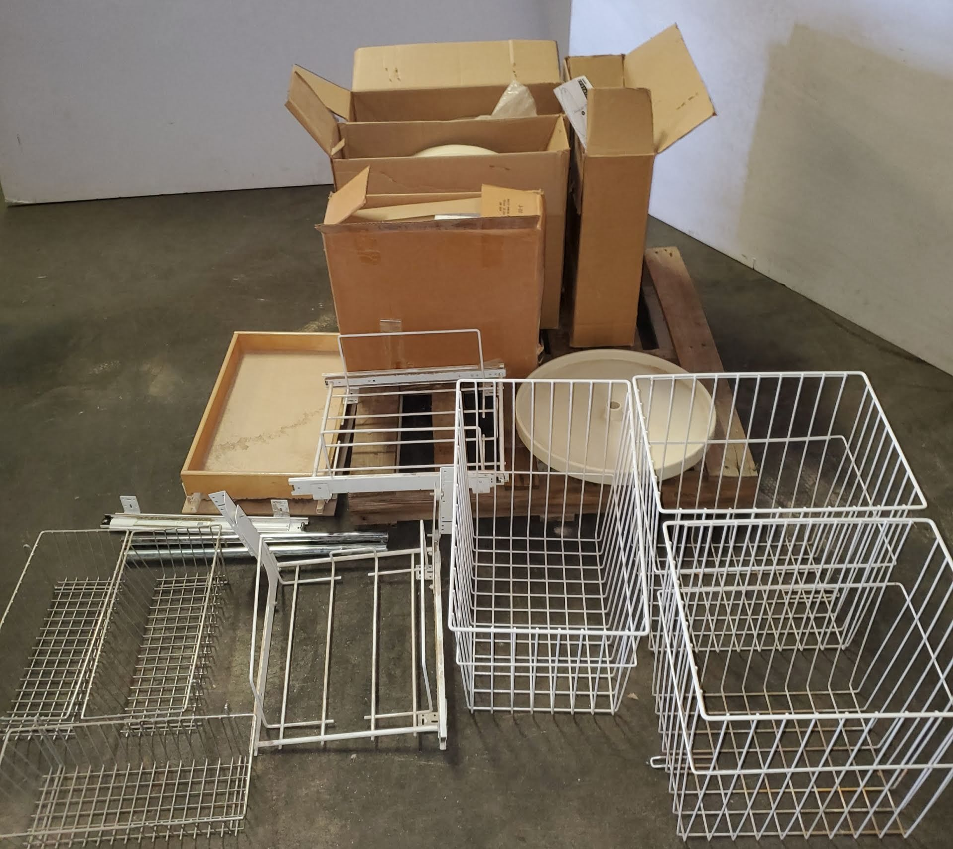Lot 41 - Pallet of Misc. Lazy Susans & Wire Baskets for kichen cabinets