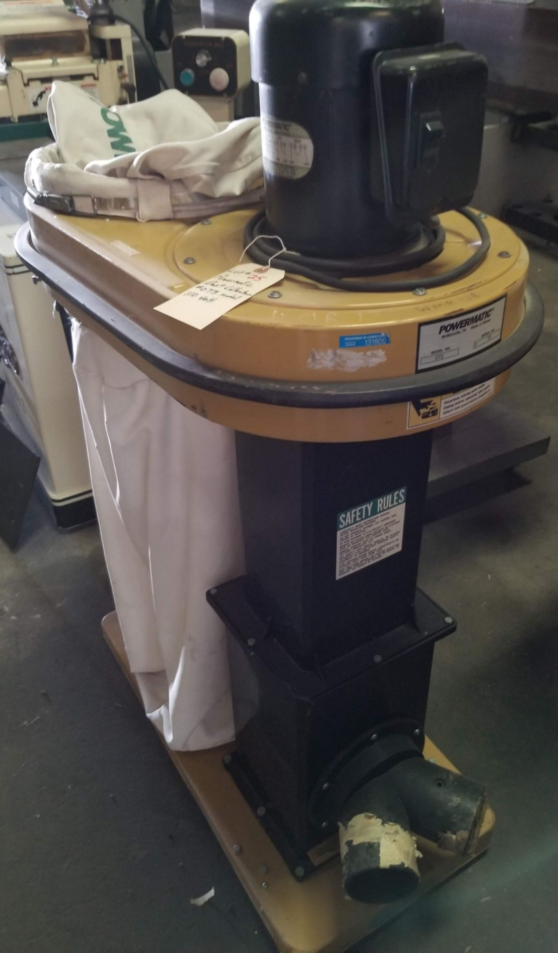 Lot 25 - Powermatic Dust Collector Model # 073, 1.5 hp 110V, Top & Bottom Bag, (2) 4-Dust Chutes, Casters.