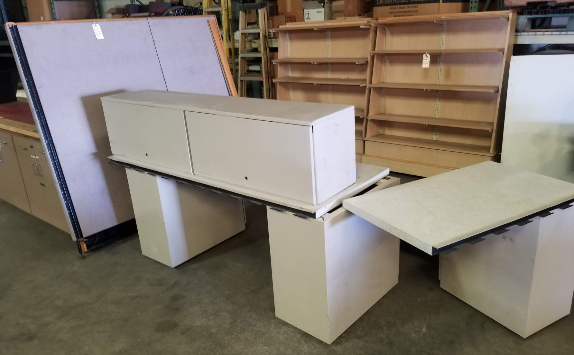 Lot 57 - Grey Office Tables with walls & 3 - Grey Filing Cabinets