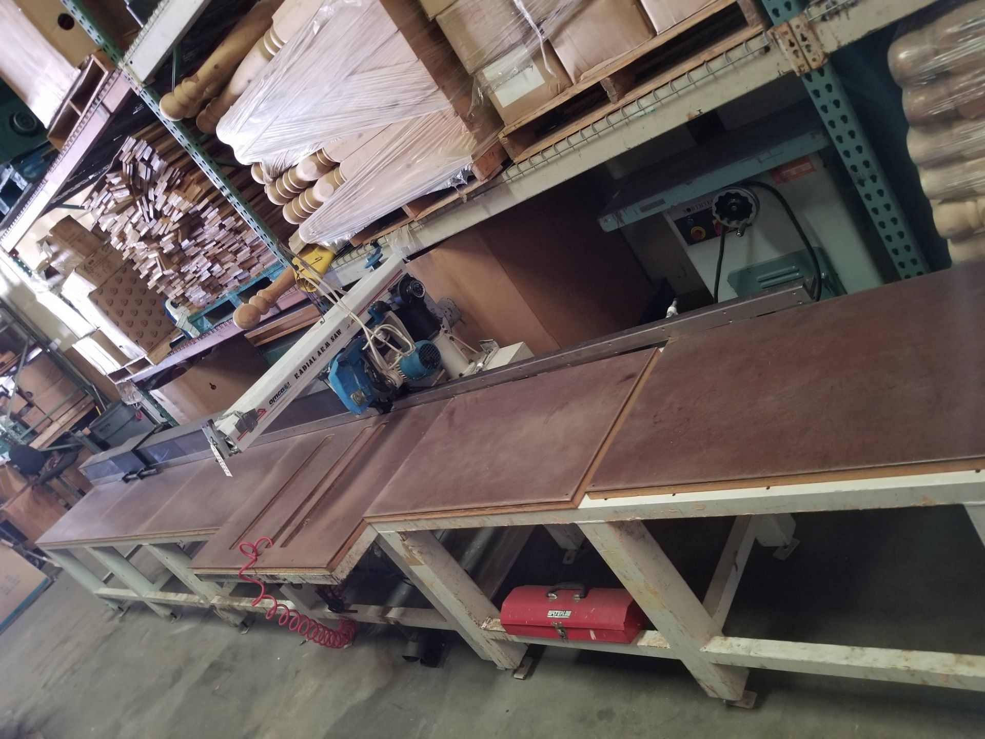 """Lot 11 - Omga 14"""" Radial Arm Saw # RN600, 3ph, with Pinnacle auto fence, 13' long"""