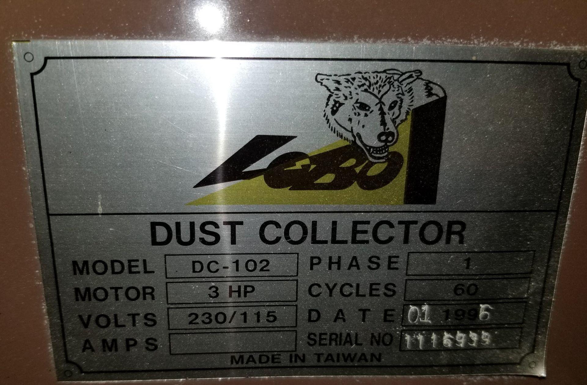 Lot 31 - Lobo Dust Collector DC-102, 4 Bag, w/ Hose, 3hp 220V 1ph.