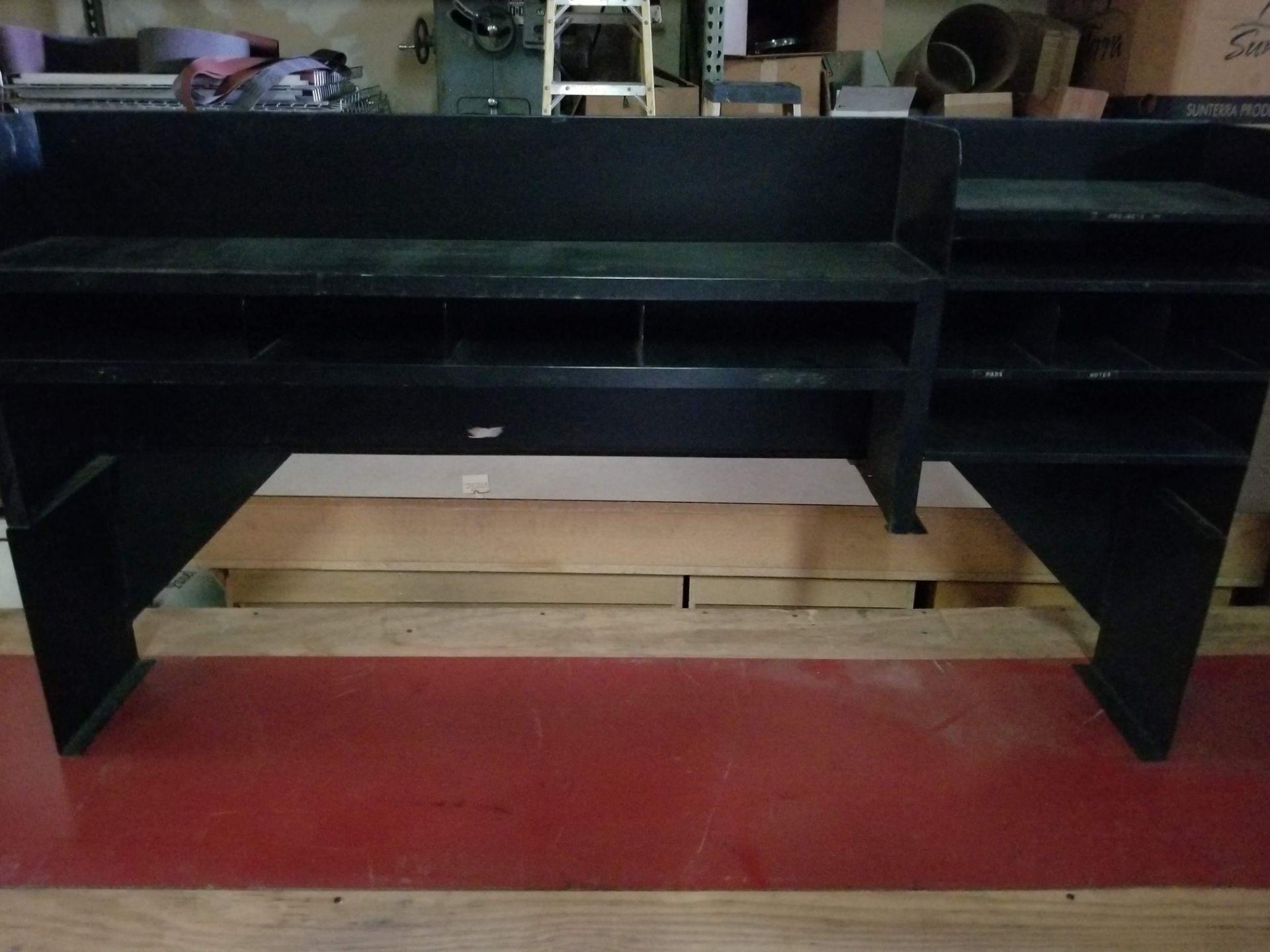 "Lot 56 - Cabinets w/ Plywood Top 93""x30""x36"" & Black Office Storage Hutch"