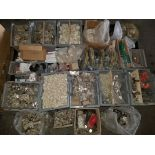 Pallet of Misc. Hardware, Hinges, Screws, Spacers, caster wheels, & More