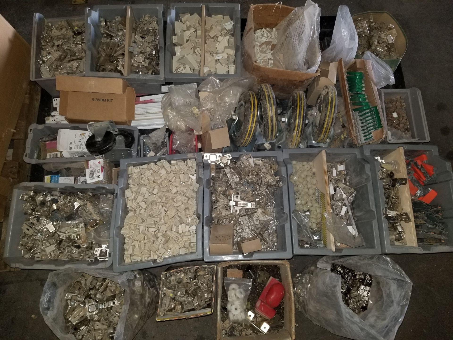 Lot 42 - Pallet of Misc. Hardware, Hinges, Screws, Spacers, caster wheels, & More