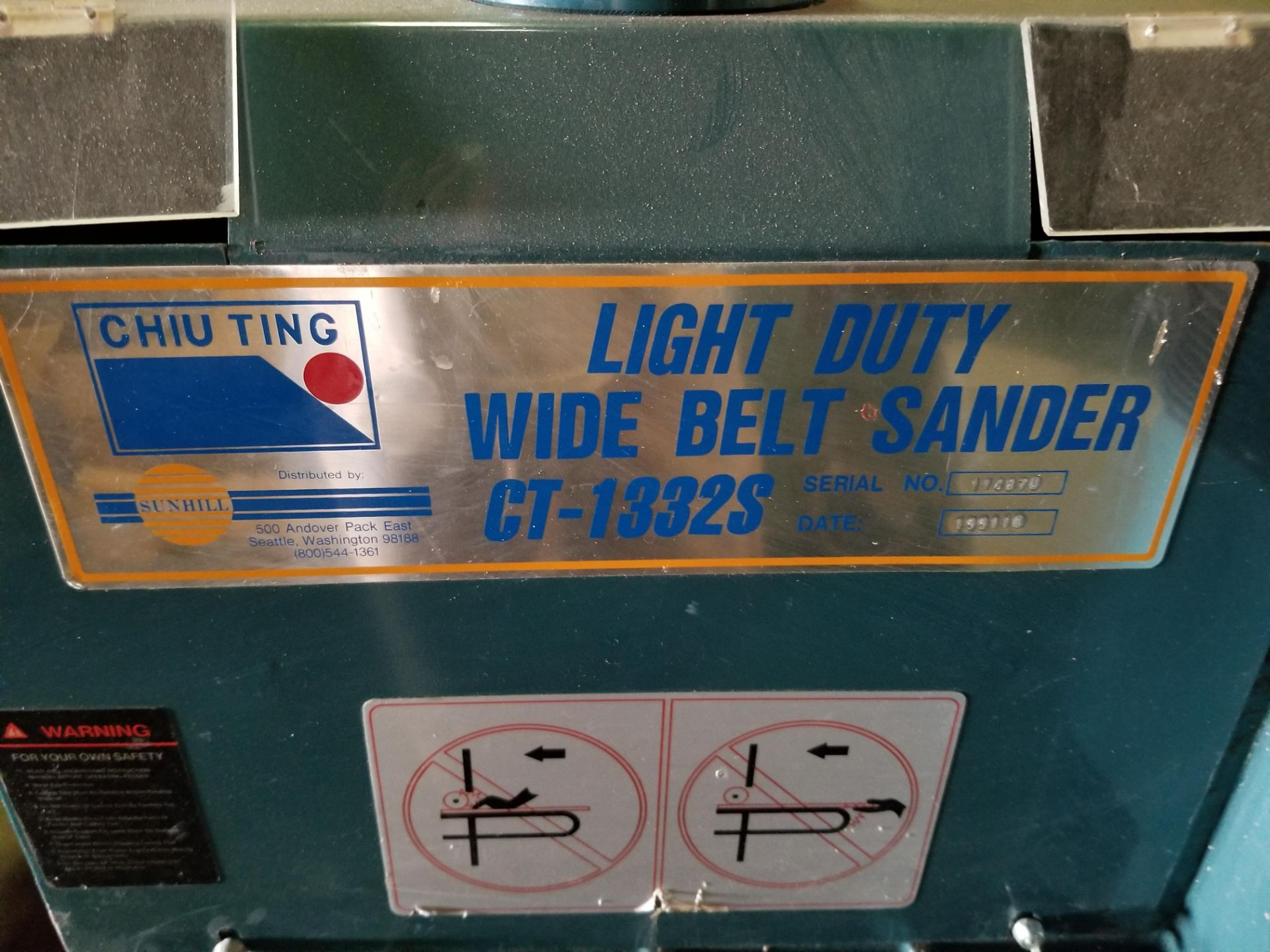 "Lot 26 - Sunhill 13"" Wide Belt Sander, 2Hp 220V 1ph, on stand with wheels."