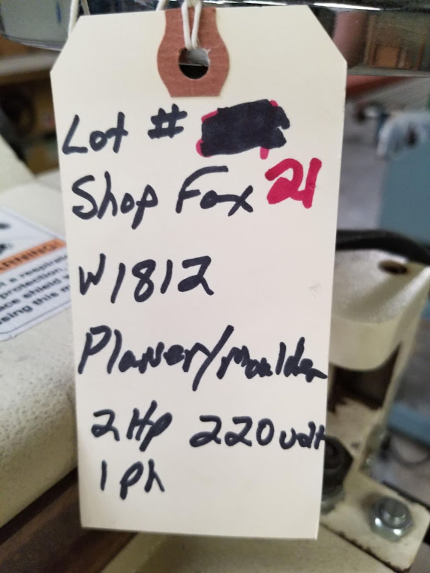 """Lot 21 - Shop Fox - 2 HP 7"""" Planer / Moulder with Stand W1812, 2hp 220 volt 1phase"""