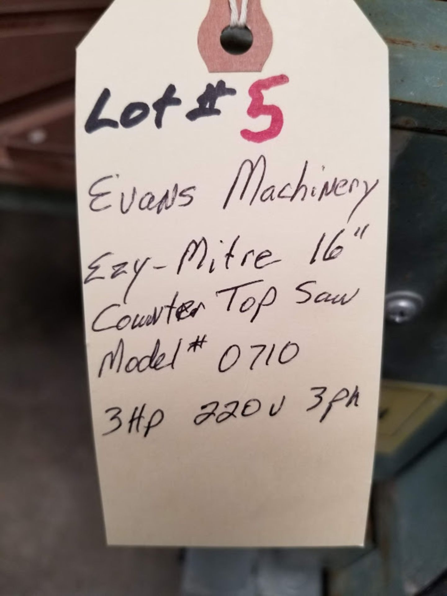 """Lot 5 - Evans Machinery Ezy-Mitre 16"""" Counter Top Saw, Model #0710, 3 Hp 220 volt 3 phase"""