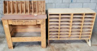 Wooden Storage Rack & Work Table W/Drawer