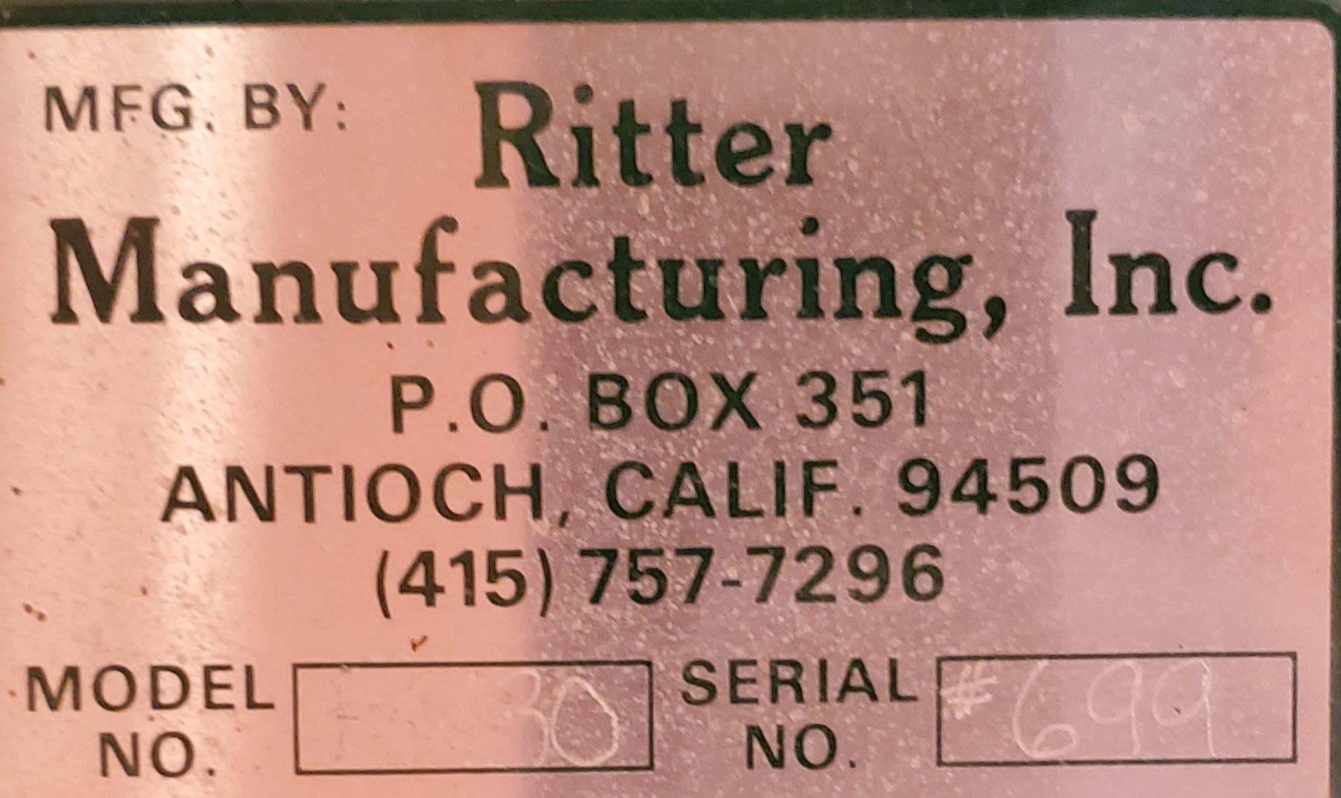 Ritter 1 Spindle Boring Machine, Pneumatic Foot Pedal, Baldor 3/4 HP 115/230 Volts 1 Phase Motor - Image 3 of 7