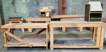 "2 - Wooden Work Tables, 27"" x 60"" x 34"" tall, 28"" x 70"" x 36"" tall"