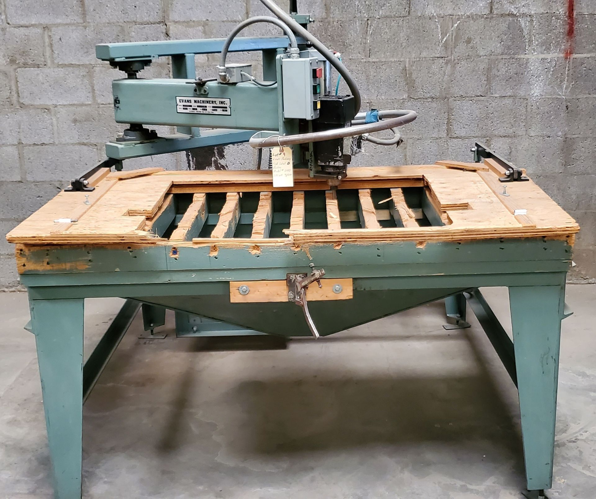 Lot 9 - Evans Machinery Sink Cutout Router, Model #2480, 220 Volts 3 Phase Motor