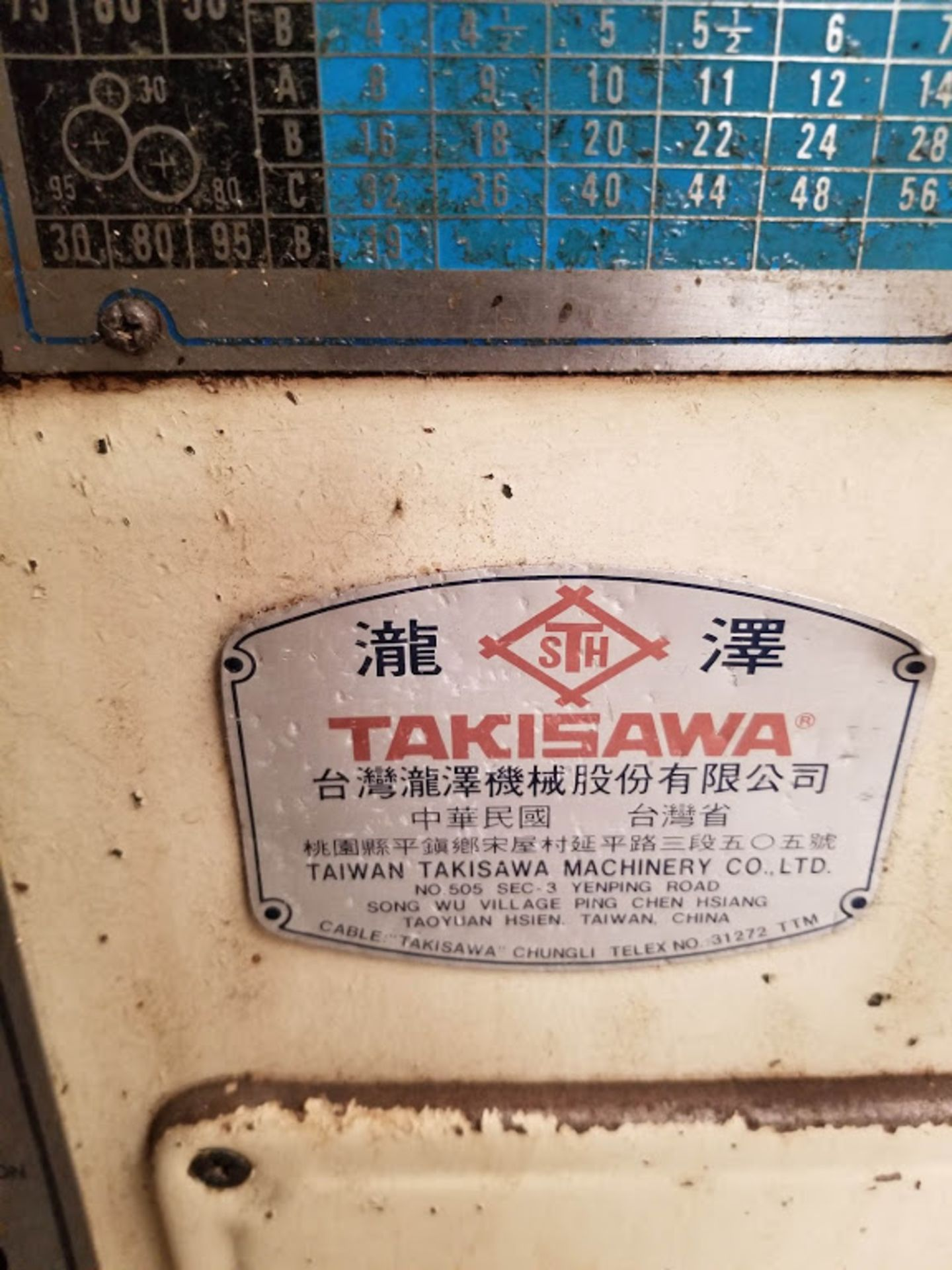 """Lot 2 - Takisawa TSL-800 D 14"""" x 30"""" Metal Lathe, 230 Volts 3 Phase Motor with crate of Jaws & parts"""