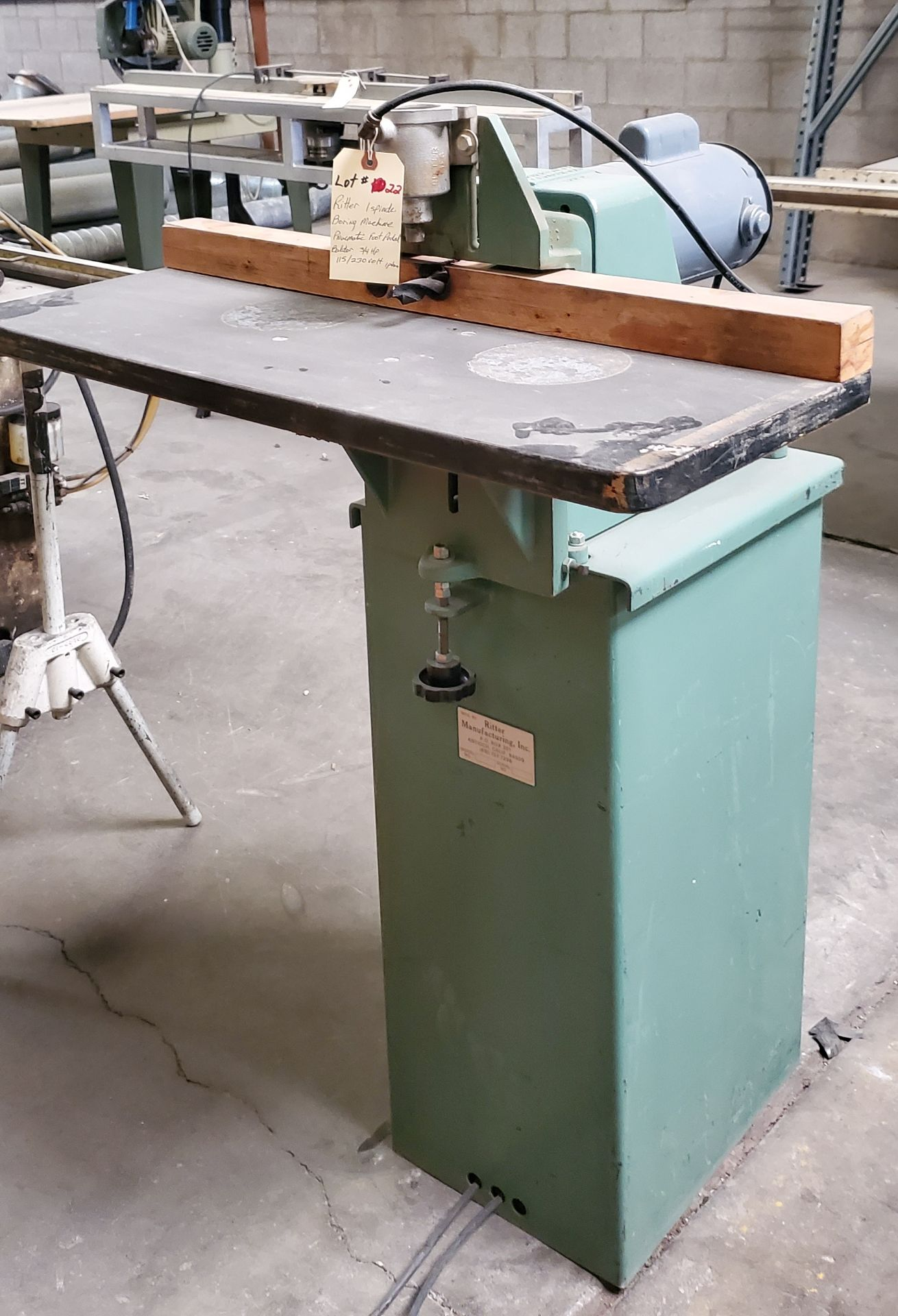 Ritter 1 Spindle Boring Machine, Pneumatic Foot Pedal, Baldor 3/4 HP 115/230 Volts 1 Phase Motor - Image 2 of 7