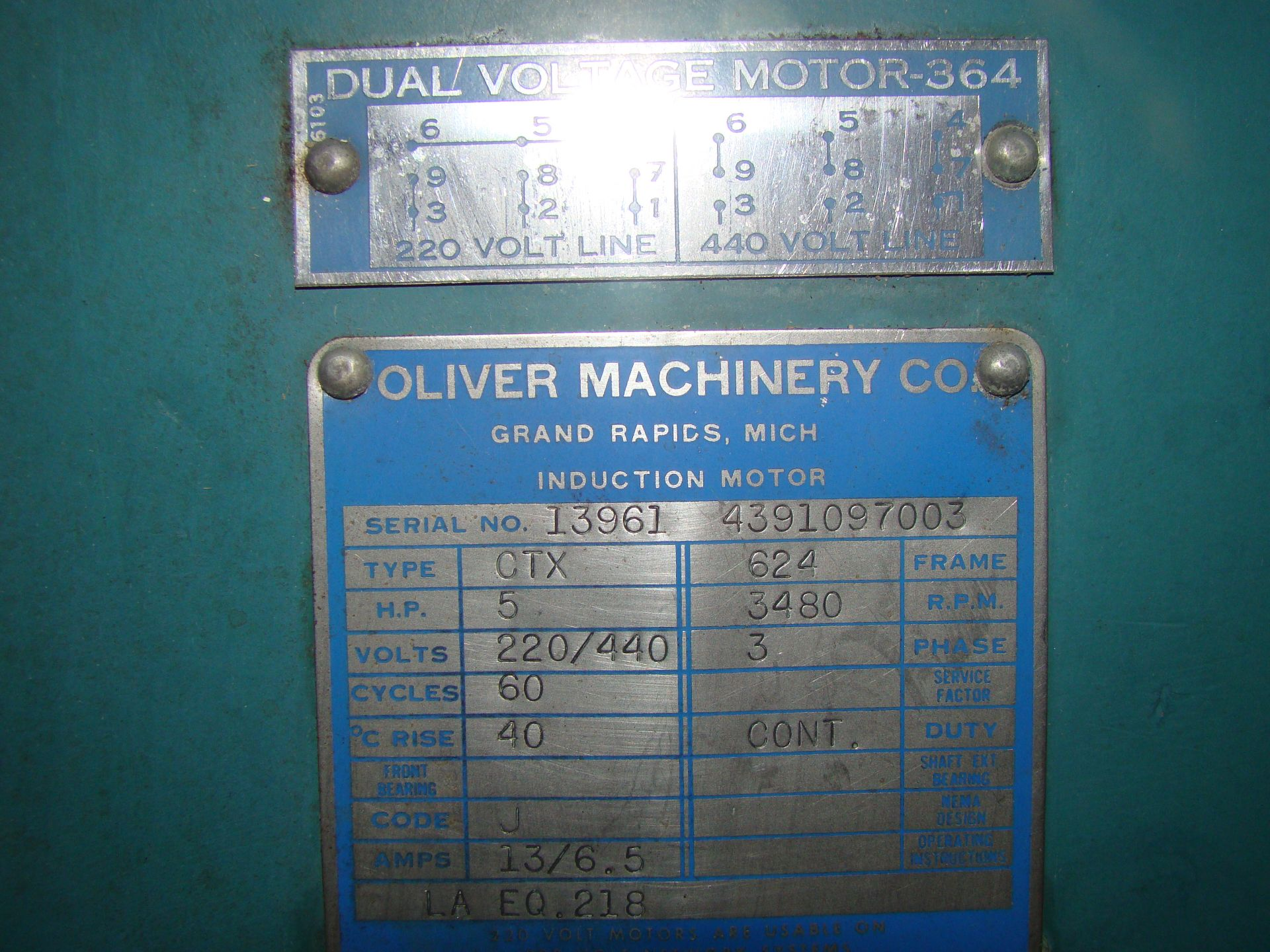 """Lot 18 - Oliver 14"""" Table Saw, W/ 50"""" Biesemeyer Rails Fence 5HP 220 Volts 3 Phase Motor"""