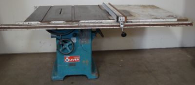 "Oliver 14"" Table Saw, W/ 50"" Biesemeyer Rails Fence 5HP 220 Volts 3 Phase Motor"