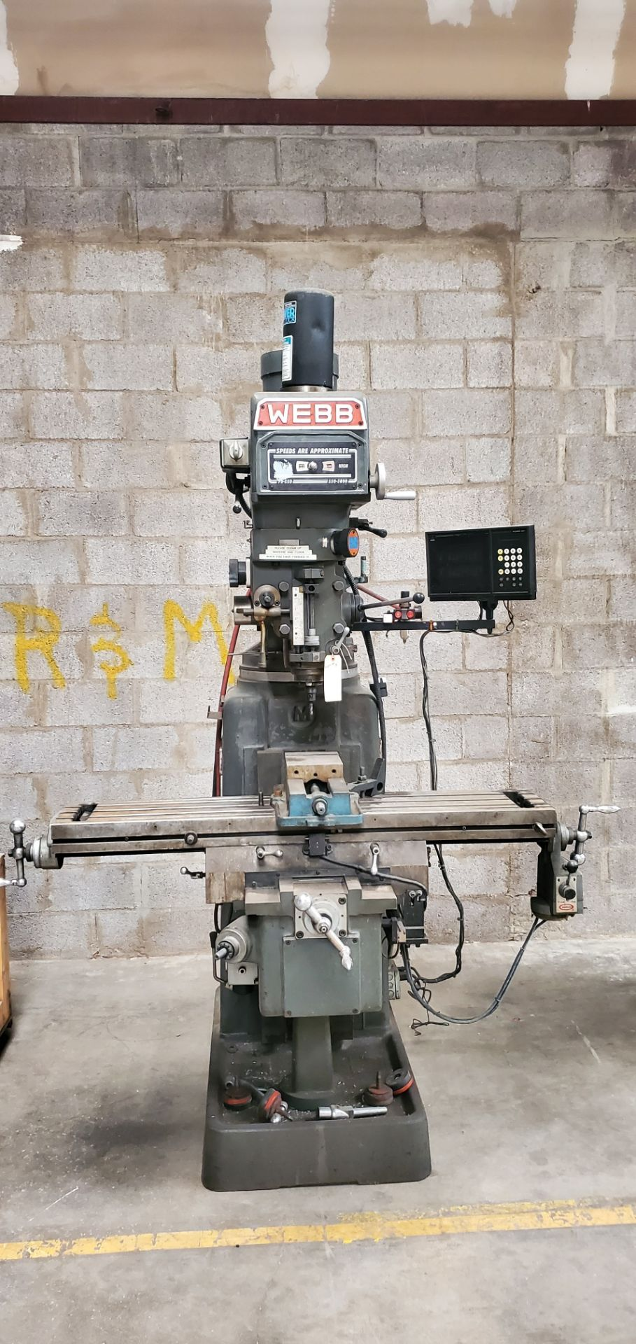 Lot 3 - WEBB Variable Speed Vertical Milling Machine, Model #5K W/Wizard 350+, 230 Volts 3 Phase Motor