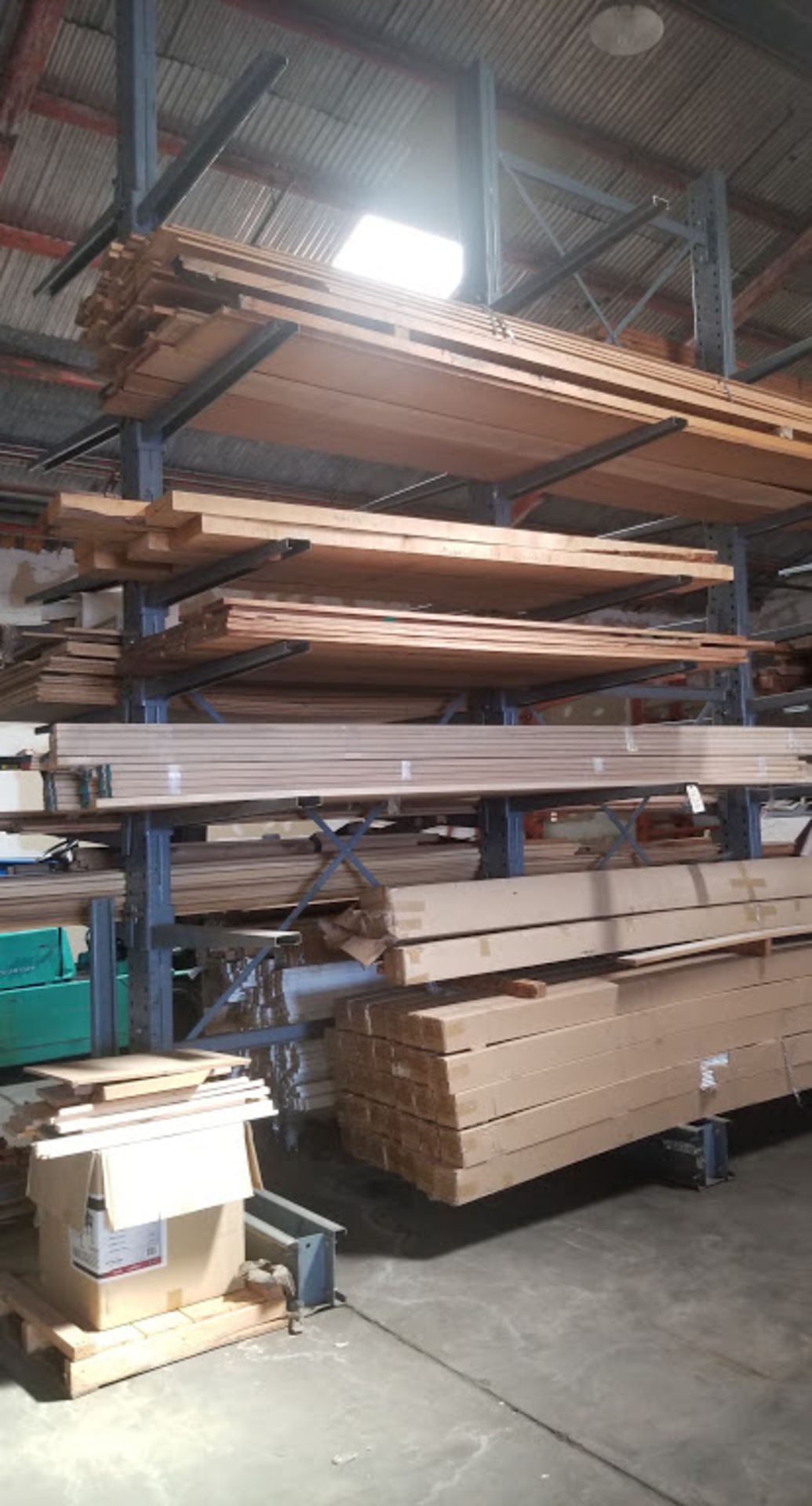 "Cantilever Racking/Shelving Double Sided 18' Uprights (Qty. 3) 48"" Arms (Qty. 34)"