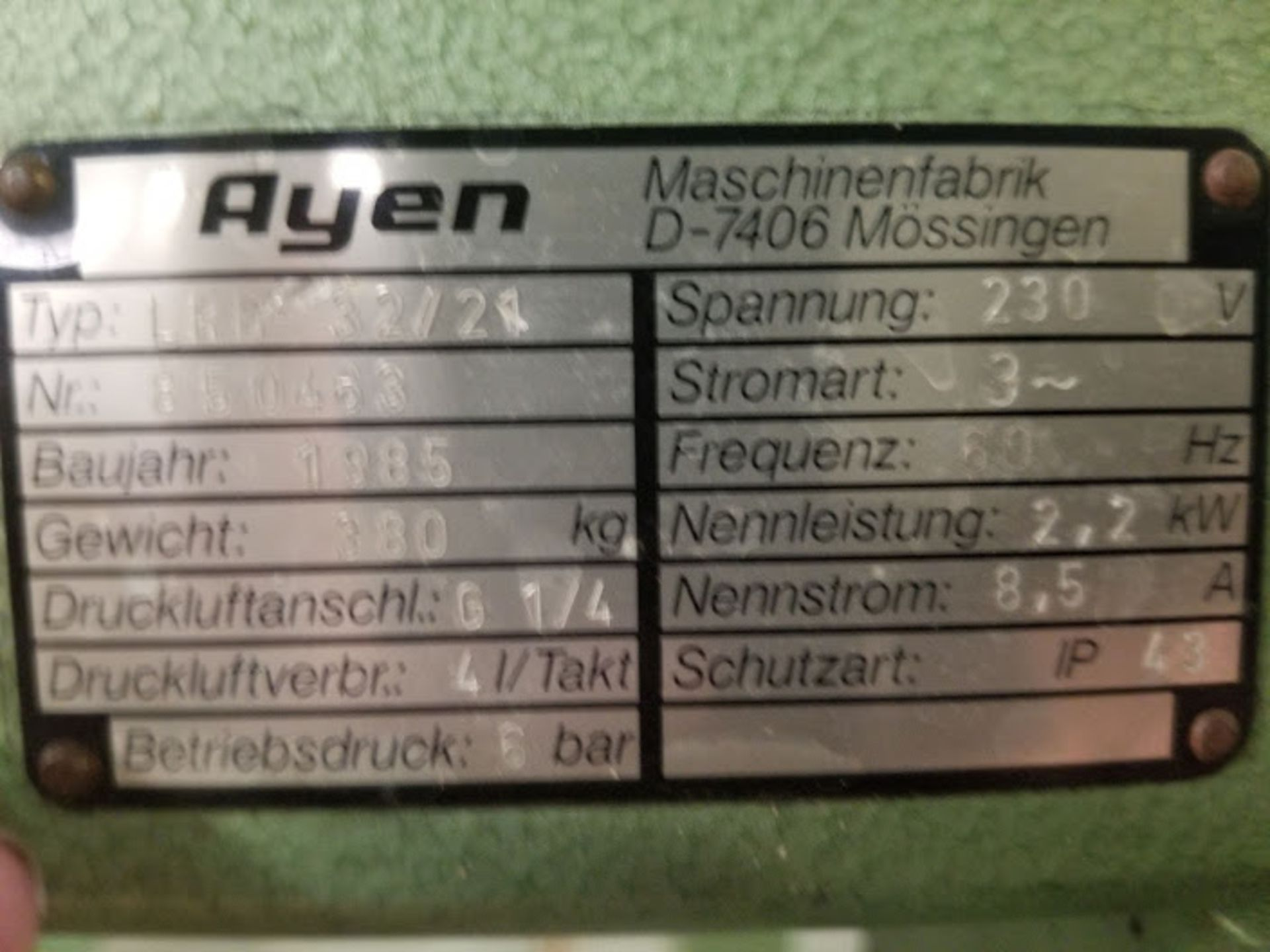 Ayen21 Spindle Line Boring Machine, Type#: LRB32/21, 230 Volts 3Phase - Image 3 of 4