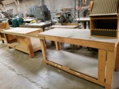 2 Wooden Work Benches and Saw Blade Rack