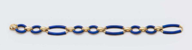 BRACCIALE IN ORO E SMALTI in oro giallo 18K, a maglie ovali decorate con smalti blu. Peso compl
