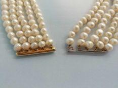 Kulturperlencollier5-reihig, Zwischenteile und Schließe Gold 585, Länge ca.40cm, 188,5g;