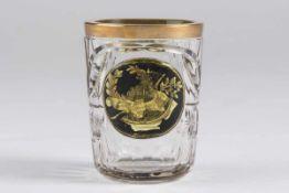 Biedermeier Freundschaftsbecher um 1830farbloses Glas, geschliffen,honiggelb und schwarz gestrichen,