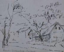 Florian Jakowitsch (1923 Wr.Neustadt)Waldviertel, Federzeichnung, signiert Florian Jakowitsch, mit