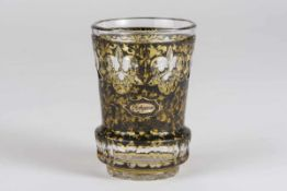 Biedermeier Becher um 1840/1850farbloses Glas in ausladender Form, geschliffen, gelb und schwarze