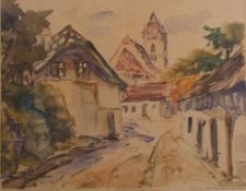 Franz Ellek Eiwek (1883-1959 Eisenstadt)Aus alt Eisenstadt, Monotypie, signiert Fr. Eleck-Eiweck,