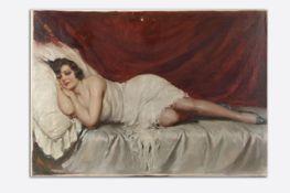Enzo Maresca um 1900/20Liegender Akt, signiert Maresca, Öl auf Leinwand, 69x100 cm, minimal