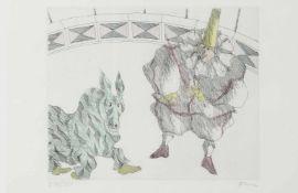 """Paul Flora (Glurns 1922-2009 Innsbruck)""""Circus"""", 1991, signiert Flora, Radierung in Farbe, Nr. 276"""