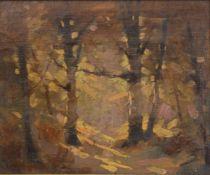 Künstler 20.Jh.Blick in den Wald, undeutlich signiert, Öl auf Leinwand, 46,5x57,5cm, gerahmt;