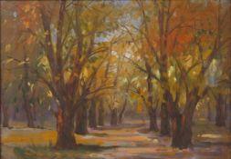 Künstler 20Jh.Herbstbäume, Aquarell, Öl auf Malkarton, signiert, 30,5x44cm, verglast, gerahmt;