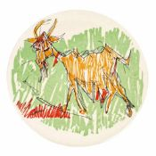 """The Goat"" - decorative plate with Marcel Iancu's artwork"