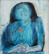 Blue girl with flower