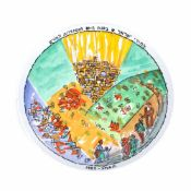 "Decorative plate illustrated with the image of the kibbutz ""Ein Hod"", by Marcel Iancu"