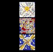 Set of three tiles with Salvador Dali design, made by Maurice Duchin, 1954