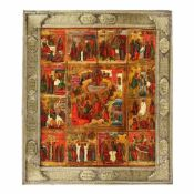"""""""The Resurrection of the Lord and 12 scenes"""", Russian school (Palekh), early 19th century, holiday"""