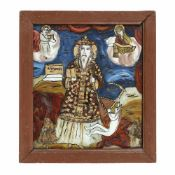"""Saint Haralambie chaining the plague"", credited to painter Petru Prodan, Maieri, Alba Iulia, ap"