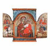 """Virgin Mary and the Baby (Hodighitria), Saint George, Saint Haralambie and Saint Dumitru"", Gree"