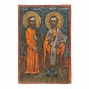 """""""The Holy Hierarchs John and Nicholas"""", Romanian school, early 19th century"""