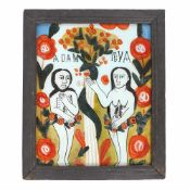 """Adam and Eve in Heaven"", Transylvanian school (Gherla), early 20th century"