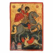 """Saint George Killing the Dragon"", Greek school (Mount Athos workshop), mid-18th century, royal"