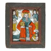 """Saint Haralambie chaining the plague"", painted frame, Transylvanian workshop (Șcheii Brașovul"
