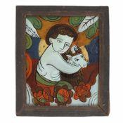 """Child Saint John the Baptist"", painted frame, Transylvanian workshop (Nicula), second half of 1"