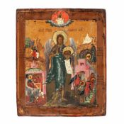 """""""Saint John the Baptist - the Angel of the Desert with Scenes of His Life"""", Russian school (Pale"""