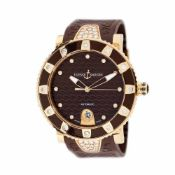 Ulysse Nardin Lady Diver wristwatch, rose gold, women, decorated with diamonds, provenance documents