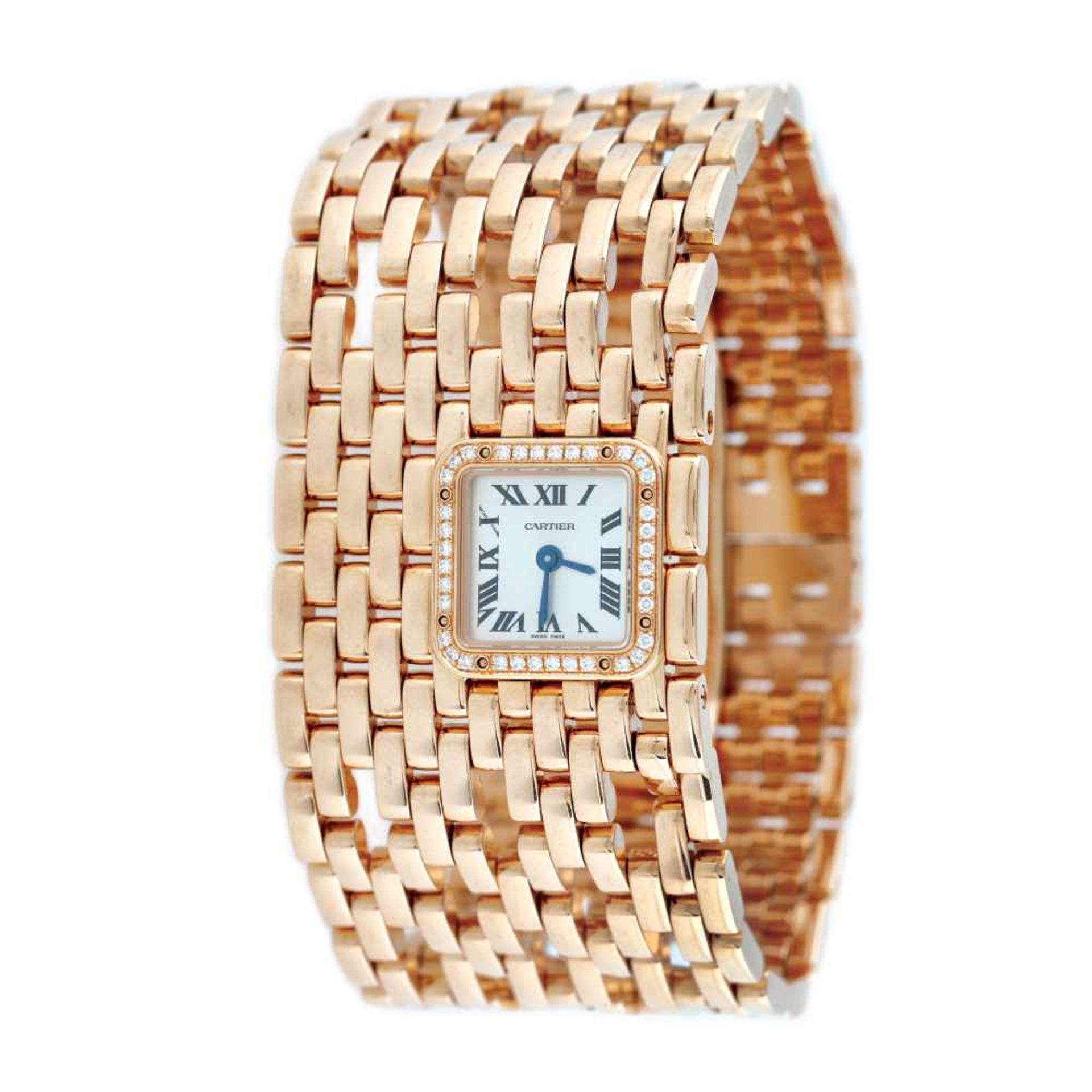Panthère de Cartier Manchette bracelet watch, rare, gold, women, decorated with diamonds, provenanc