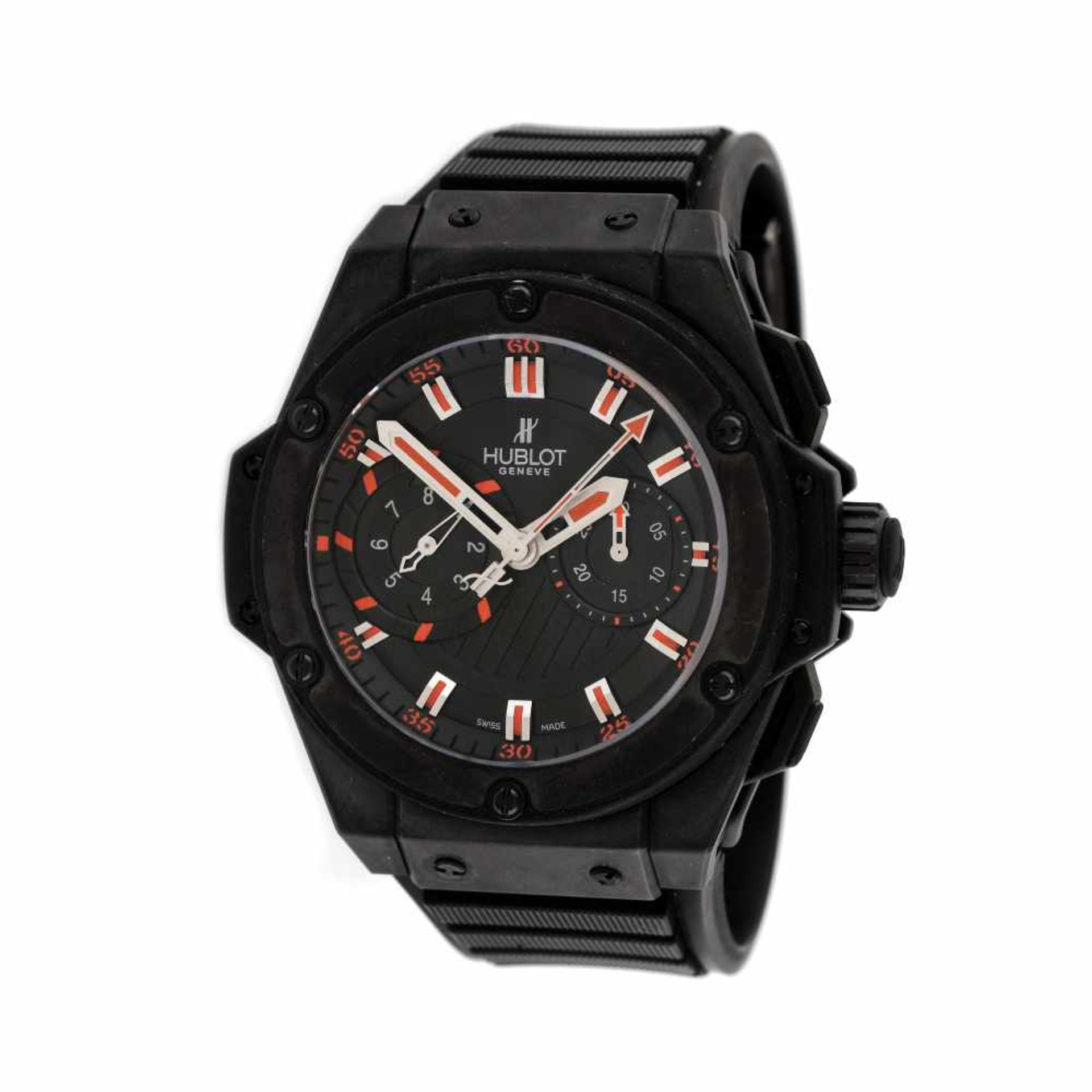 Hublot King Power wristwatch, ceramic, men, limited edition 301/500, provenance documents